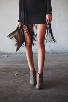 black dress, black fringe vest w/ booties