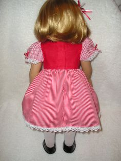 Red White Frilly Dress fits AMERICAN GIRL 18 by CoffeeKidsNDolls