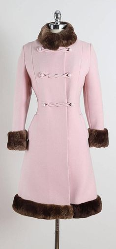Vintage 1960s Pink Wool Mouton Fur Coat