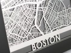 Boston City, Laser Cut Maps from Cut Maps