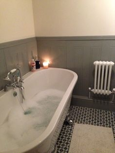 freestanding bath against wall - victorian style bathroom Lovely, but cleaning underneath? Upstairs Bathrooms, Dream Bathrooms, Beautiful Bathrooms, Bathtub Tile, Bathroom Flooring, Bathroom Paneling, Bad Inspiration, Bathroom Inspiration, Family Bathroom