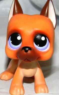 Littlest Pet Shop LPS GREAT DANE #244 Tan Brown Fawn Dog Lavender Eyes RARE