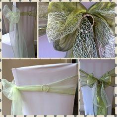 Organza sash styles, shades of green