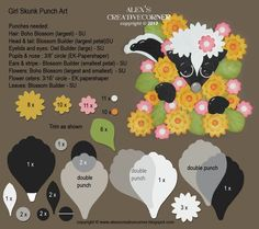 punch art for cards or layouts - Girl Skunk in flowers