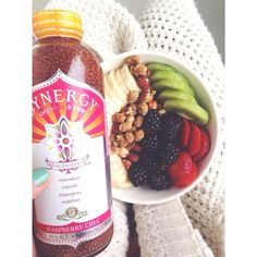 Cozy knit sweater, quark with fruit, hazelnuts, and mulberries, and a chia kombucha drink  #Padgram