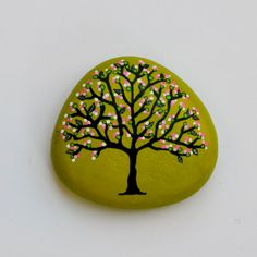 Hand Painted Stone with Tree