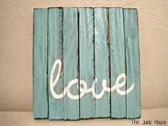 "The Junk House: Mini ""Pallet"" Sign  Completely obsessed with everything wood right now."