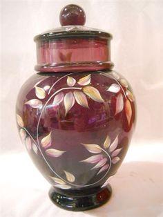 Fenton Art Glass Aubergine Purple Temple Ginger Jar HP Leaves Dragonfly | eBay