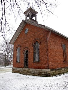 Abandoned Schoolhouse - Vermilion, OH This is one of the more elaborate schoolhouses I've seen in the Ohio countryside. The arched windows and bell tower set it apart from everything else.