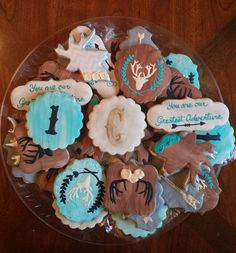 Facebook.com/sugarblissbakerytx  Rustic cookies for a birthday party. Would be awesome for a baby or bridal shower