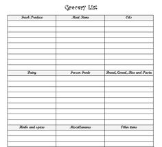 Printable grocery list you with each food category listed. Free Workout Plans, Workout Log, Grocery List Printable, Grocery Lists, Printables, Printable Templates, List Template, Food Categories, Free Resume