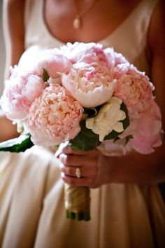 Pink Peonies and Ranunculus with Gardenia accent wedding bouquet | Peony & Ranunculus Wedding Bouquet