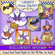 Halloween Spooks Digital Art Collection por lauriefurnelldesigns