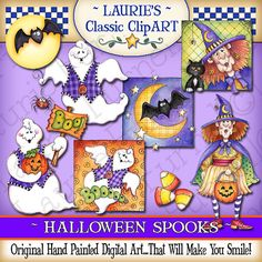 Halloween Spooks Digital Art Collection por lauriefurnelldesigns
