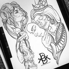 """Bruno Almeida no Instagram: """"•True Will• muitas novidades, artes carregando muitos símbolos de força, proteção, reflexão sobre a vida e verdadeira vontade. Para…"""" Drawing Stencils, Tattoo Stencils, Tattoo Illustration, Ink Illustrations, Black Ink Tattoos, Black And Grey Tattoos, Tattoo Finder, Neo Traditional Art, Organic Tattoo"""
