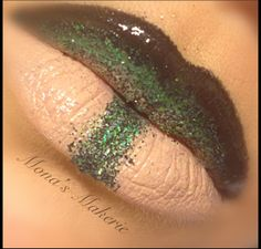 Ombre black and green with glitter Lips! Mona's Makerie on Facebook and Instagram