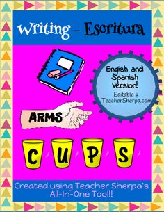 ARMS/CUPS used to teach revising and editing!.. Tambien esta la version en español para las clases bilingües!! Use this Anchor to teach students a quick and simple way to remember what it means to Revise and Edit their writing, by using the acronyms ARMS and CUPS.