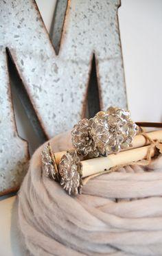 Swarovski Crystal Flower Glam Knitting Needles - Large Giant Straight Wood Size 35 (19mm), 12'' (30 cm) long