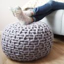 Are you interested in our Grey chunky Knitted Footstool? With our Chunky Knit Pouffe ottoman in white you need look no further. Pouf Footstool, Knitted Ottoman, Knitted Blankets, Super Chunky Yarn, Big Knits, Moss Stitch, Wool Yarn, Merino Wool, Crafts