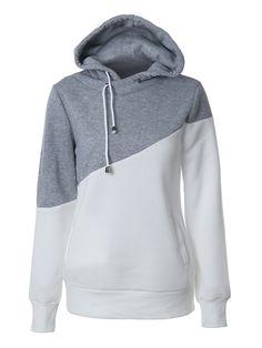 0b703e5c Drawstring Color Block Long Sleeve Hoodies #fashionhoodies Hooded  Sweatshirts, Fashion Sweatshirts, Fall Fashion
