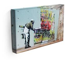 Banksy Graffiti Wallpaper Canvas Print or Poster - Siteismi Banksy Graffiti, Graffiti Wallpaper, Print Wallpaper, Banksy Canvas Prints, Modern Canvas Art, Hanging Canvas, Paintings, Canvas Ideas, Writing Posters