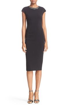 Free shipping and returns on Ted Baker London 'Dardee' Embellished Body-Con Midi Dress at Nordstrom.com. Raised seams perfect and accentuate the curve-skimming silhouette of a sleek body-con dress featuring a bejeweled neckline and midi-length hem.