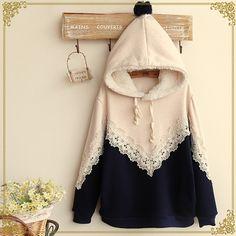 Japanese sweet hooded sweater coat