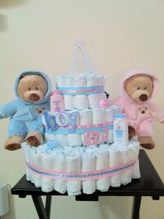 Twin boy and girl cake