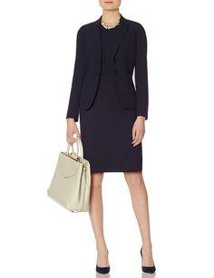 Navy Collection V-Back Sheath Dress & Slanted Pocket Jacket