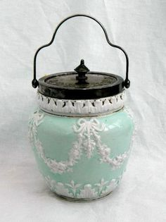 Victorian Biscuit Barrel Cracker Jar Blue White Jasperware Floral Swags Bows   eBay