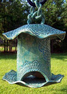 Sold Tourqouise Pottery Bird Feeder Ceramic Art