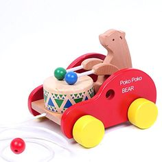Bear Knock the Drum Wooden Push and Pull Toys for Toddlers Kids * Continue to the product at the image link.Note:It is affiliate link to Amazon.
