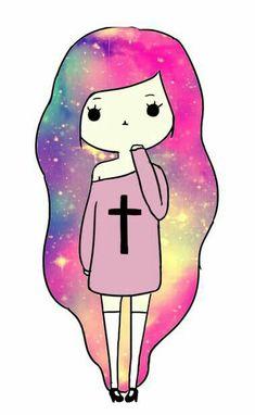 Cartoon Drawings Of Girls Kawaii Girl Drawings, Cute Cartoon Drawings, Cute Girl Drawing, Cartoon Girl Drawing, Girl Cartoon, Easy Drawings, Oblyvian Girls, Galaxy Art, Pastel Galaxy