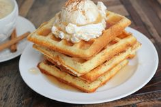 TIP: I make a triple batch of waffles whenever I make them and store them in the freezer. If I get home late from work, we have waffles and eggs! All I have to do is toast the waffles like an Eggo Waffle and fry a few eggs…dinner is ready in 5 minutes! If you would like to see a video of me making the waffles, click HERE.