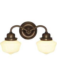 "Solid Brass Double Sconce With 6"" Schoolhouse Shades 