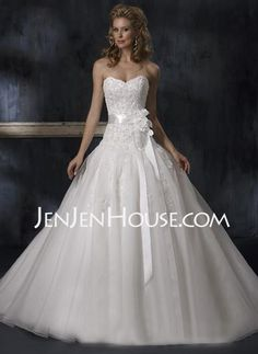 Wedding Dresses - $176.39 - A-Line/Princess Sweetheart Floor-Length Satin  Tulle Wedding Dresses With Beadwork (002011970) http://jenjenhouse.com/A-line-Princess-Sweetheart-Floor-length-Satin--Tulle-Wedding-Dresses-With-Beadwork-002011970-g11970