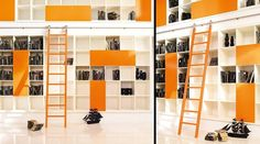 white and orange contemporary shelving - Google Search