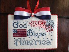God Bless America cross stitch ornament
