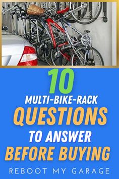 """To get the right bike rack, ask questions such as: """"Does the rack hold the right quantity of bikes?"""" Think about dismounting the bikes: """"Is there room to get the bike down from a full rack?"""" Think about the bike widths: """"Are the hooks adjustable so you can move the bikes left to right within the rack space?"""" Think about the bike tires: """"Do you need a rack that can handle fat tires, kids' bikes, or several heavy bikes?"""" Garage Wall Storage, Garage Walls, Garage Organization, Garage Bike, Bicycle Storage, Wall Racks, Bike Rack, Long Distance, Bike Storage Rack"""