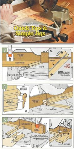 Miter Saw Simple Jigs - Miter Saw Tips, Jigs and Fixtures | WoodArchivist.com