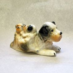 Dog with Puppies Figurine from Taiwan - Adorable 1950's Dog Decor