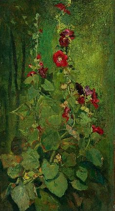 ❀ Blooming Brushwork ❀ - garden and still life flower paintings - John La Farge  Red Hollyhocks  1863