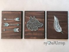 Set of three- Love and Nature string art boards, which includes a feather, deer and arrows. Dimensions are 7x9 wood plaques with dark walnut stain and cream and tan string. These can be customized with your choice of stain/paint and string colors.