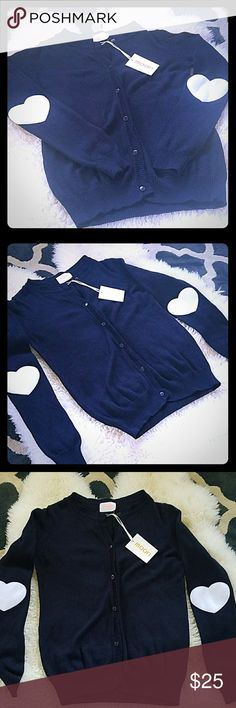 MOON NAVY HEART PATCHED ELBOW CARDIGAN SWEATER MOON COLLECTION NAVY COLORED WHITE HEART PATCHED ELBOW CARDIGAN SWEATER BUTTON UP NEW WITH TAGS SMOKE FREE ADORABLE Moon Collection Sweaters