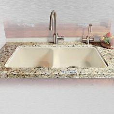 """Miseno MCI46-5UM 33"""" Double Basin Undermount Cast Iron Kitchen Sink"""