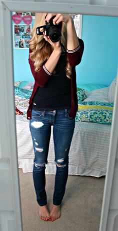blue jeans, black tee and red cardigan