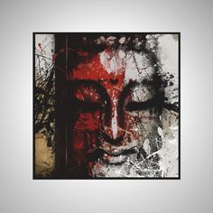 Large Hand Painted Square Abstract Buddha Acrylic Painting on