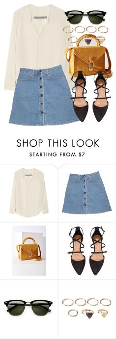 """""""Untitled #5382"""" by laurenmboot ❤ liked on Polyvore featuring Raquel Allegra, STELLA McCARTNEY, Cooperative, H&M, Ray-Ban and Forever 21"""