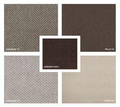 Cashmere: 775 and 770 Fabrics: Elisir 409 Suede: Camoscio 6004 Leather: Pelle 410