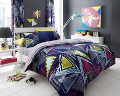 Pop Triangle Printed Duvet Quilt Bedding Set | Multi – Linens Range #BedLinen